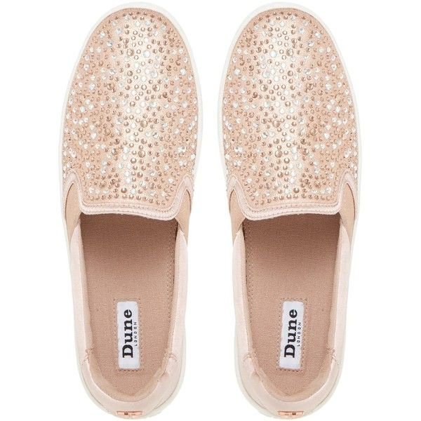 Dune Eilish Embellished Slip On Trainers (125 BRL) ❤ liked on Polyvore featuring shoes, sneakers, low sneakers, leather flat shoes, slip-on sneakers, leather shoes and leather slip on sneakers