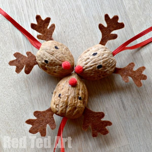 Walnut Reindeer Ornaments -- too cute!