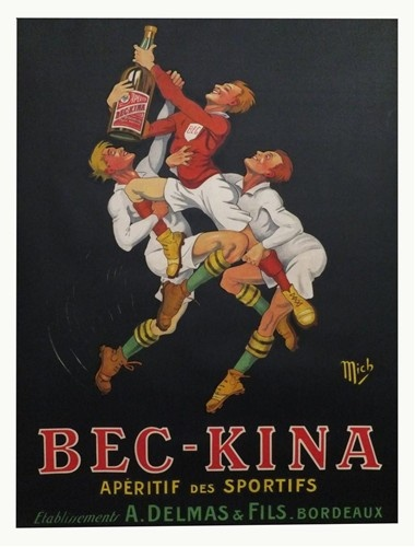 Vintage French Bec-Kina Rugby Poster - $1450.