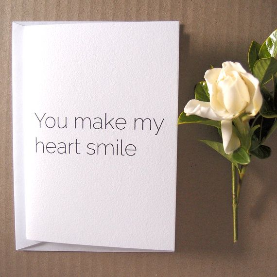 You make my heart smile  Card  High quality by LittleWhiteMouse.etsy.com #card #etsy #smile #heart #gift #love #thankyou