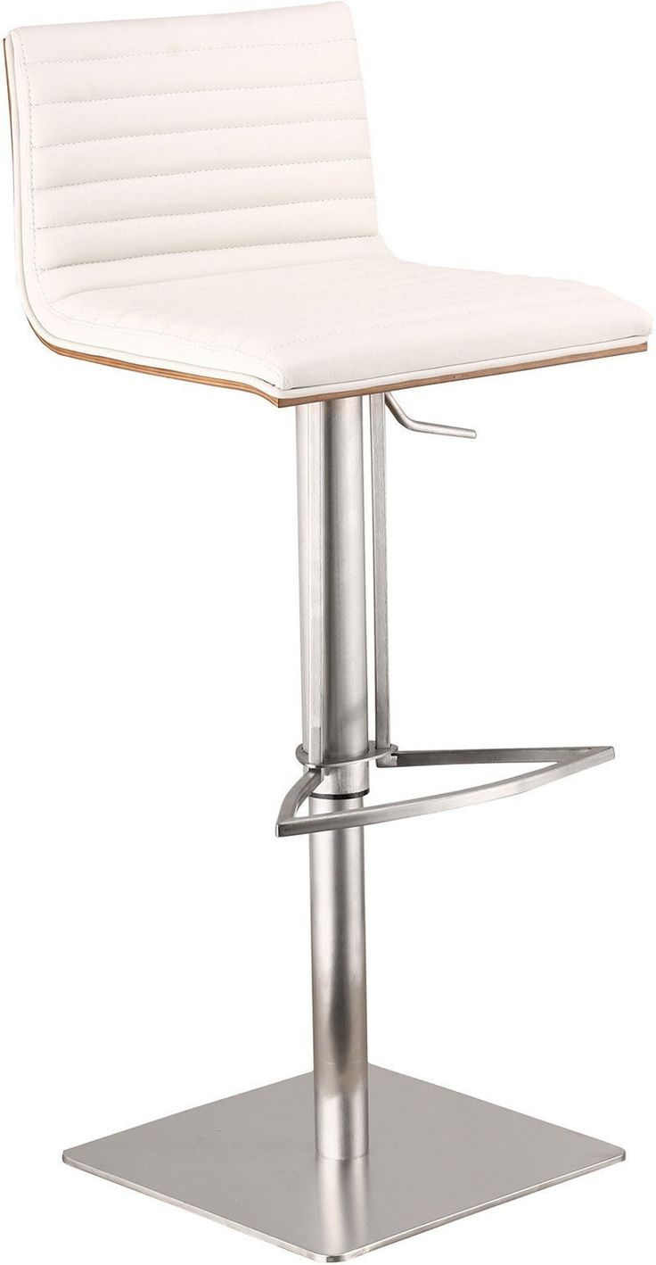 Armen Living LCCASWBAWHB201 Caf Adjustable Brushed Stainless Steel Barstool in White Pu with Walnut Back