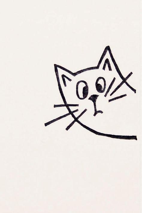 Eine sehr überraschte Katze Peek-a-Boo-Briefmarke – Nicht montierte handgeschnitzte …