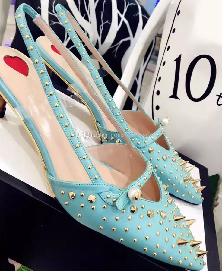 2017 Sky Blue/Green/Black High Heels Rivet Wedding Shoes Women Genuine Leather Pointed Toe Shoes For Weedding Party Evening Champagne Bridesmaid Shoes Cheap Silver Wedding Shoes From Gonewithwind, $201.01| Dhgate.Com