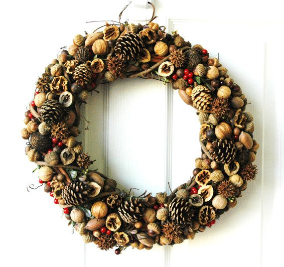 Items similar to Nut, Pinecone & Seed Wreath on Etsy