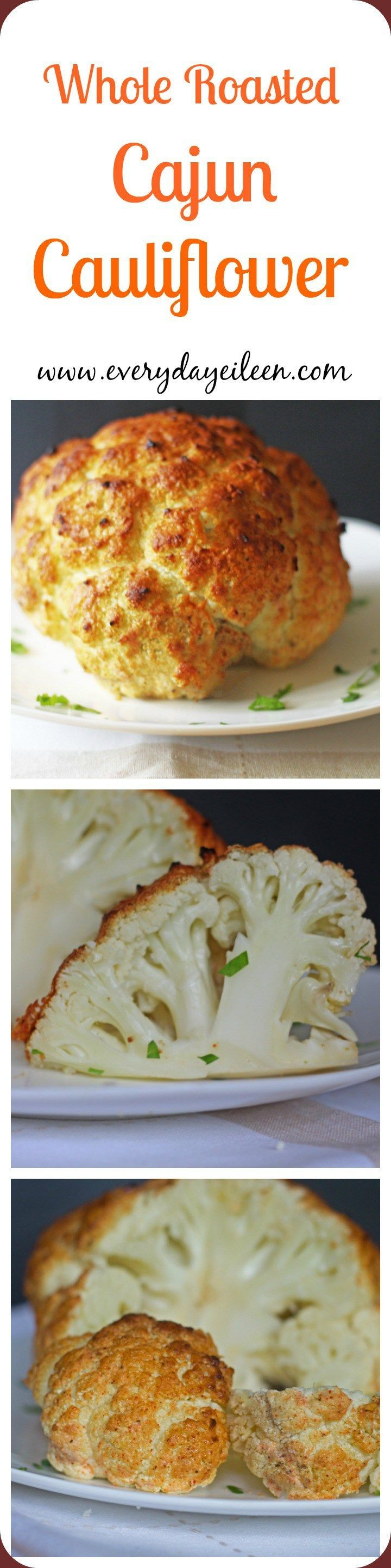 Whole Roasted Cajun Cauliflower is roasted in the oven. Fat-free plain yogurt is combined with Homemade Cajun Seasonings.  A low-fat, low-carb, gluten-free!