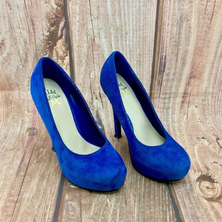 Miss KG Ladies platform court Shoes Blue Suede uk 4.5 eur 38 high heel stiletto