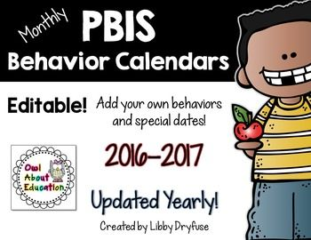 PBIS Monthly Behavior Calendars NOW EDITABLE!!  {Updated Yearly!}