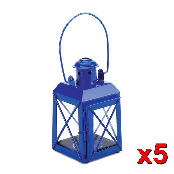 Lot of 5 Blue Railway Candle Lantern Table Centerpiece WEDDING Wholesale NEW