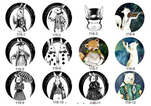 NEW - 12mm 20mm 25mm Handmade Animal (Rabbit/Cat/Bear/ Glass Cabochon CPC118 by yooounique on Etsy