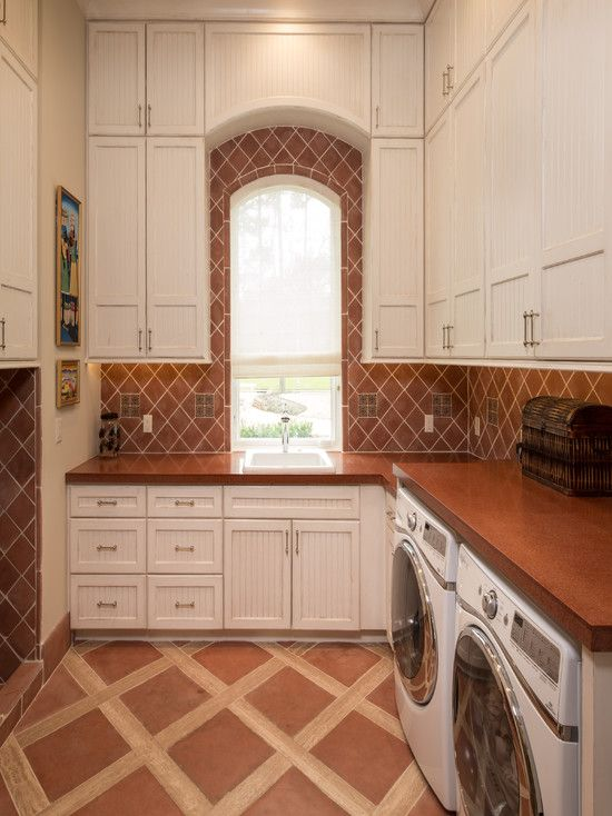 Windows, Mediterranean Laundry Room With Arch Window Treatments Also White  Cabinets With Beadboard Style Also