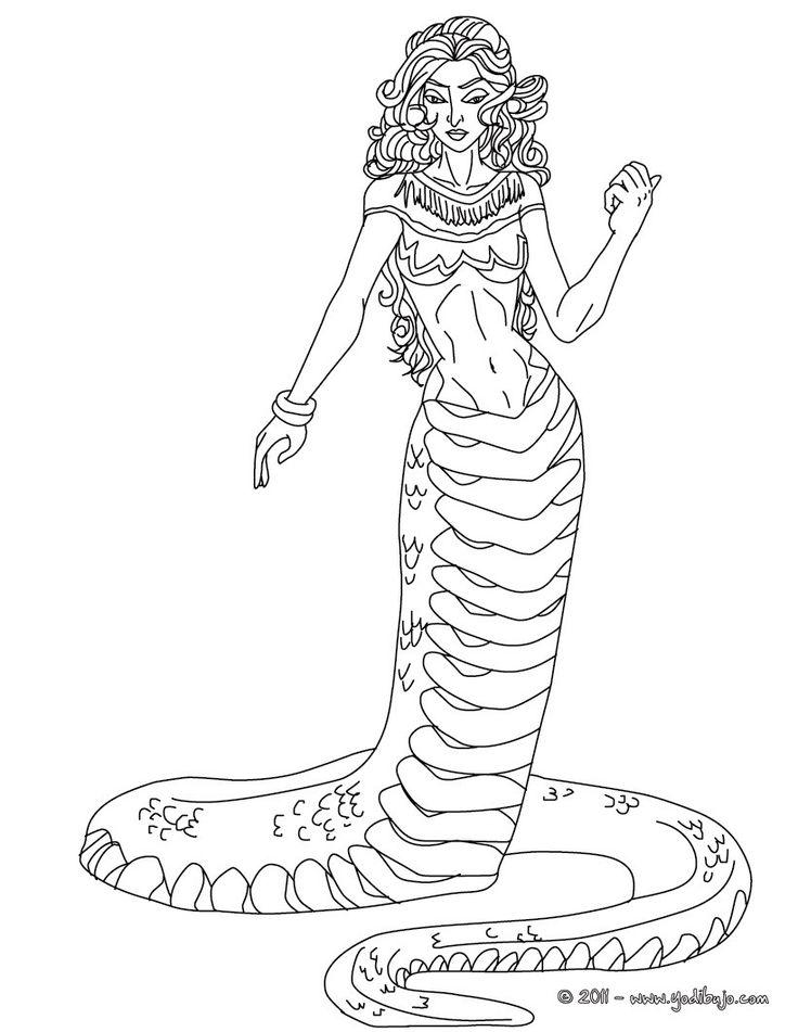 Dibujo de EQUIDNA para colorear, criatura mitad mujer y mitad serpiente