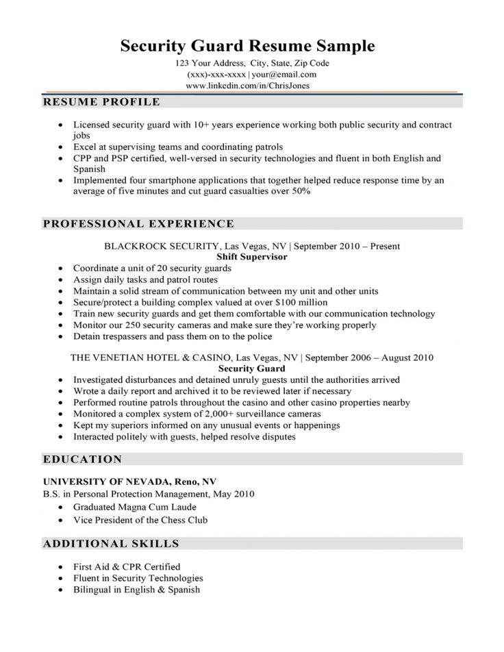 10++ Security officer resume template Examples