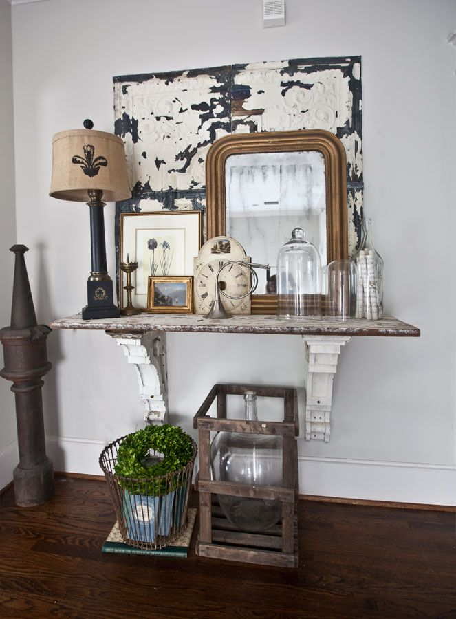 This shelf in the upstairs hallway  is just one example of my very favorite advice and best ideas for decorating available for YOU on Cedar Hill Farmhouse.