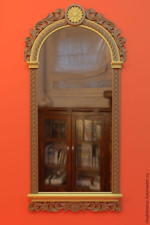 """Купить Резное деревянное зеркало """" Первоцвет"""". - разноцветный, зеркало в деревянной раме, рама"""
