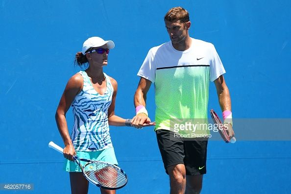 Max Mirnyi playing mixed doubles with Arina Rodionova. Max won Grand Slam Doubles with Venus Williams. Arina, who is wearing Vee's #elevenbyVenus #OlaCollection on court, played with her sister, Anastasia, and Vee on the #WashingtonKastles World Team Tennis Champions team. #serendipity