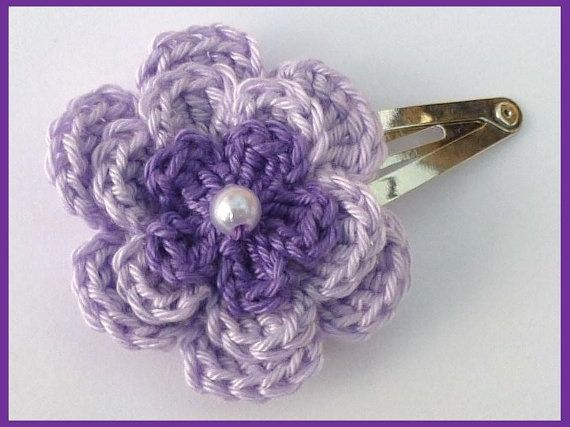 1 Lilac and purple crochet flower hair clip. by MyfanwysMakes