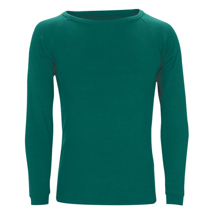 Adults Merino L/Sleeve Crew neck Top: Teal XS-2XL