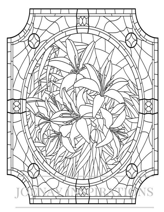 1182 best images about adult colouring flowers on pinterest Coloring book for adults stress relieving stained glass
