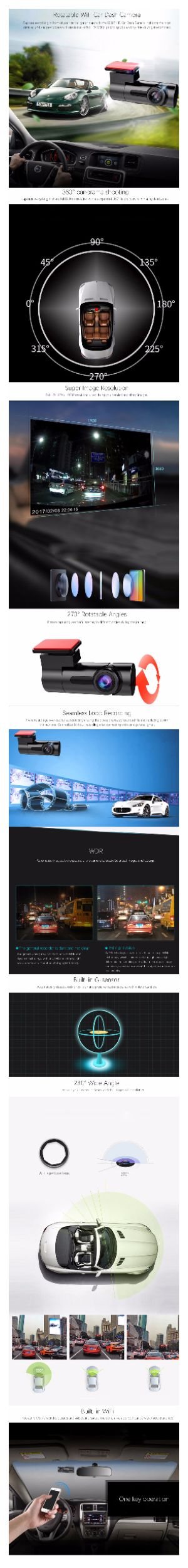 1080P 360° Panorama WiFi Car Dash Camera 230° Wide Angle Night Vision WDR Capture everything in front of your car in light or dark with the 1080P HD Car Dash Camera. It shoots the most detailed and sharpest videos with resolution of full HD 1080p, providing you a worry-free driving environment.  360° panorama shooting  captures everything in sharp full 1080p resolution with an expanded 360° field of view, eliminating dead zones.  Super Image Resolution  Full HD 1920 x 1080P resolution video…