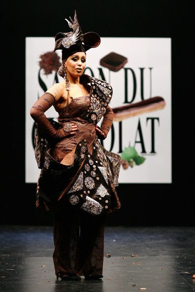Laam displays a chocolate decorated dress during the Chocolate dress fashion show celebrating the opening of the 14th Salon du Chocolat at the Porte Versailles, on October 28, 2008 in Paris, France. Empress Cocoa:   There's nothing more regal than being covered in cocoa and sugar. The evening gloves really complete the look.