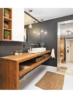Mobile da bagno linear in legno massello di abete spessore 8cm