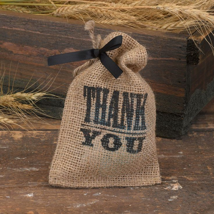 """Thank You"" Burlap Wedding Favor Bag"