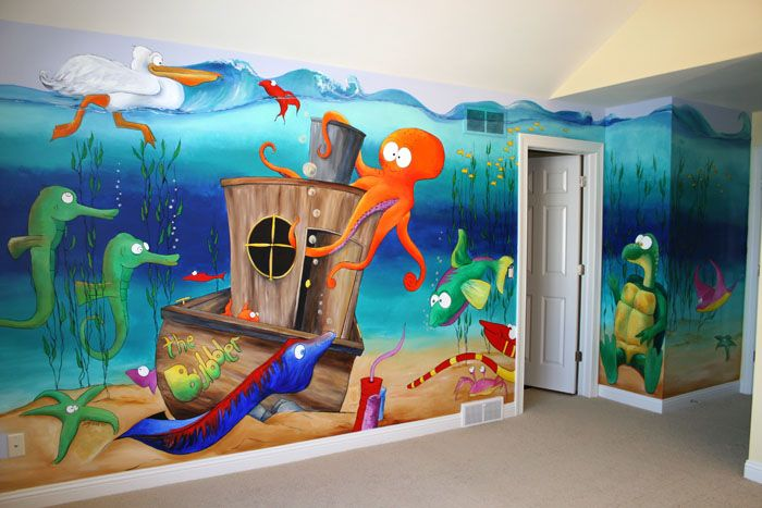 underwater mural | The long wall is approximately 15' x 8', the turtle's wall is 2' x 8'