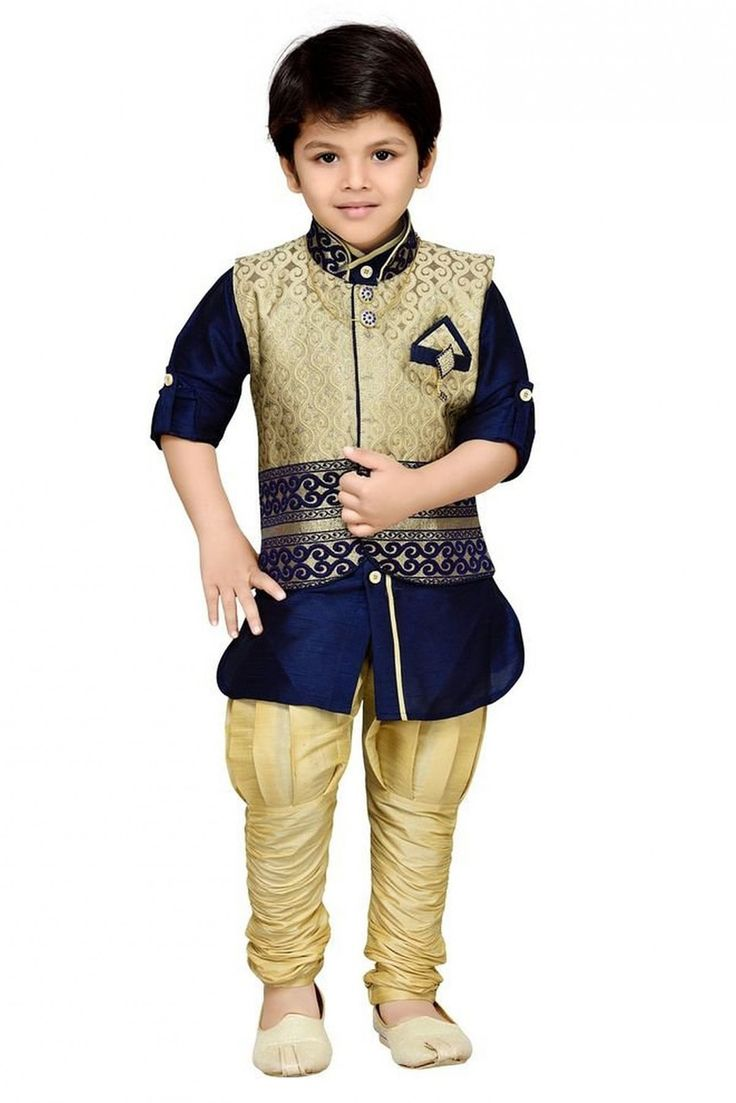 Make your boy look charming and trendy by buying him this party wear 3-piece blue color Indo Western set from AJ Dezines. Made from cotton blend material, In this boys ethnic wear set comprises churid...