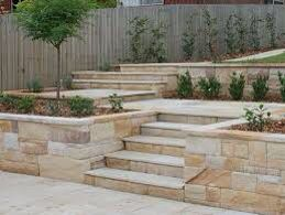 Ideas for sandstone steps and walls around driveway