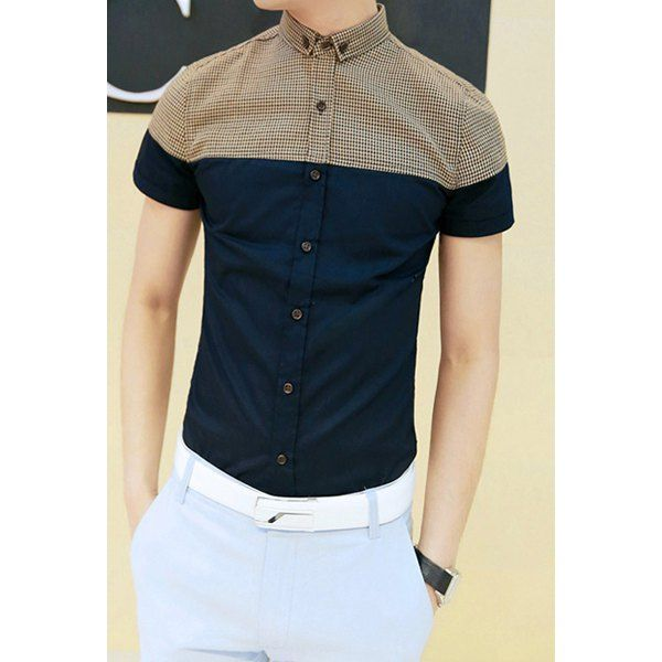 Casual Style Turn-down Collar Checked Short Sleeves Polyester Shirt For Men