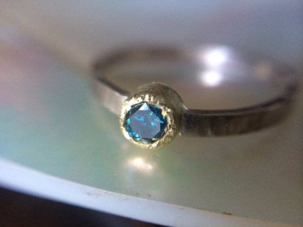Blue engagement ring by Melissa Tyson Designs | http://emmalinebride.com/engagement/blue-engagement-rings/
