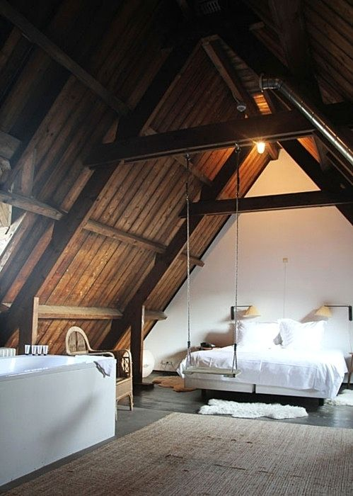 36 Stylish And Original Barn Bedroom Design Ideas | DigsDigs  A swing in your bedroom- who would of thought. :)