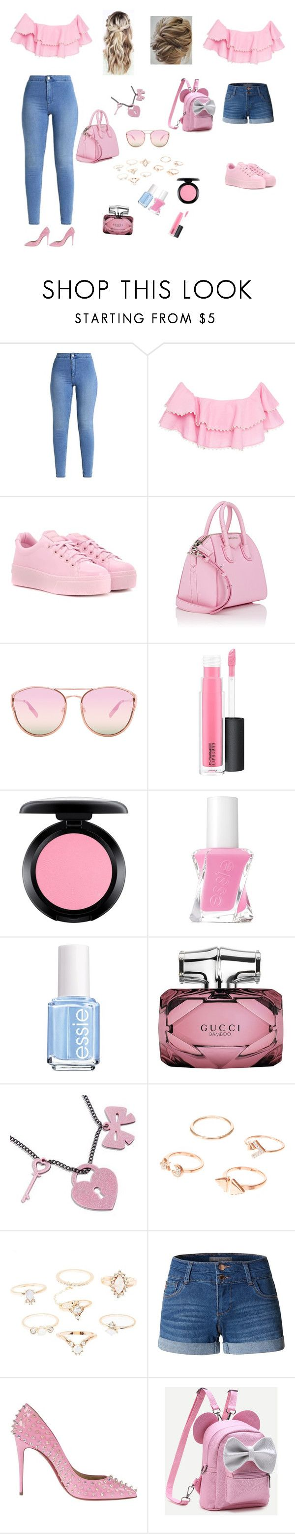 """Pinky day💕"" by hallaksally03 ❤ liked on Polyvore featuring Zayan The Label, Kenzo, Givenchy, Quay, MAC Cosmetics, Essie, Gucci, Sweet & Co., Charlotte Russe and LE3NO"
