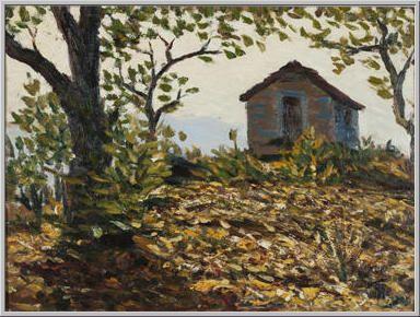 Mario Tozzi 1913: Casa in Controluce. Olio su Tavola cm.29x39 - Collezione eredi Brunetti-Laderchi Bologna - Archivio n.1675 - Catalogo n.13/5.