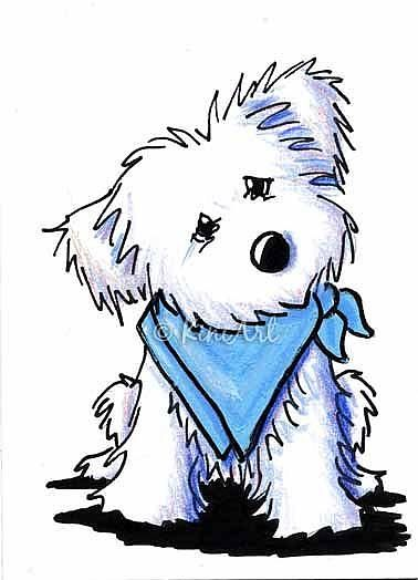 Art: Maltese in Blue Bandana by Artist KiniArt