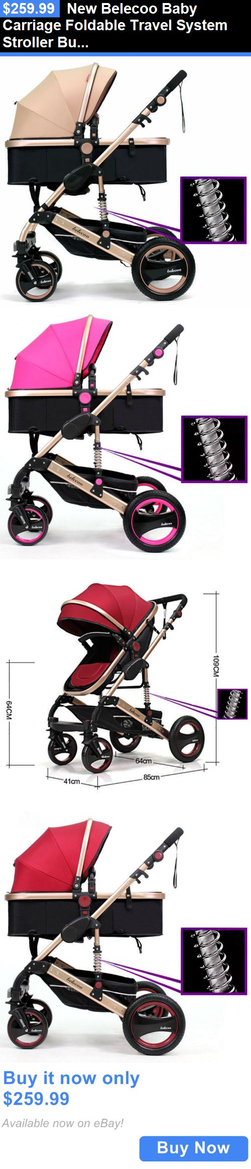 Baby: New Belecoo Baby Carriage Foldable Travel System Stroller Buggy Pushchair Pram BUY IT NOW ONLY: $259.99