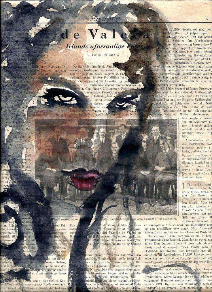 watercolor portrait on newspage paper