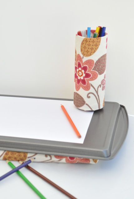 LOVE this! Lap desk with magnetic pencil cup!