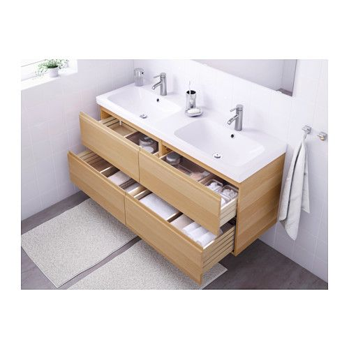 godmorgon odensvik sink cabinet with drawers white stained oak effect