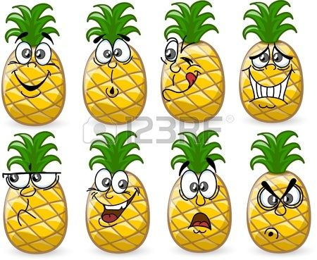 Cartoon pineapples with emotions Stock Vector