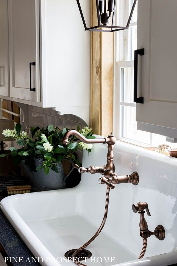 A New High Back Sink And Faucet In Our Cottage Kitchen Copper Kitchen Faucets Dream Bathroom Shower Farmhouse Faucet