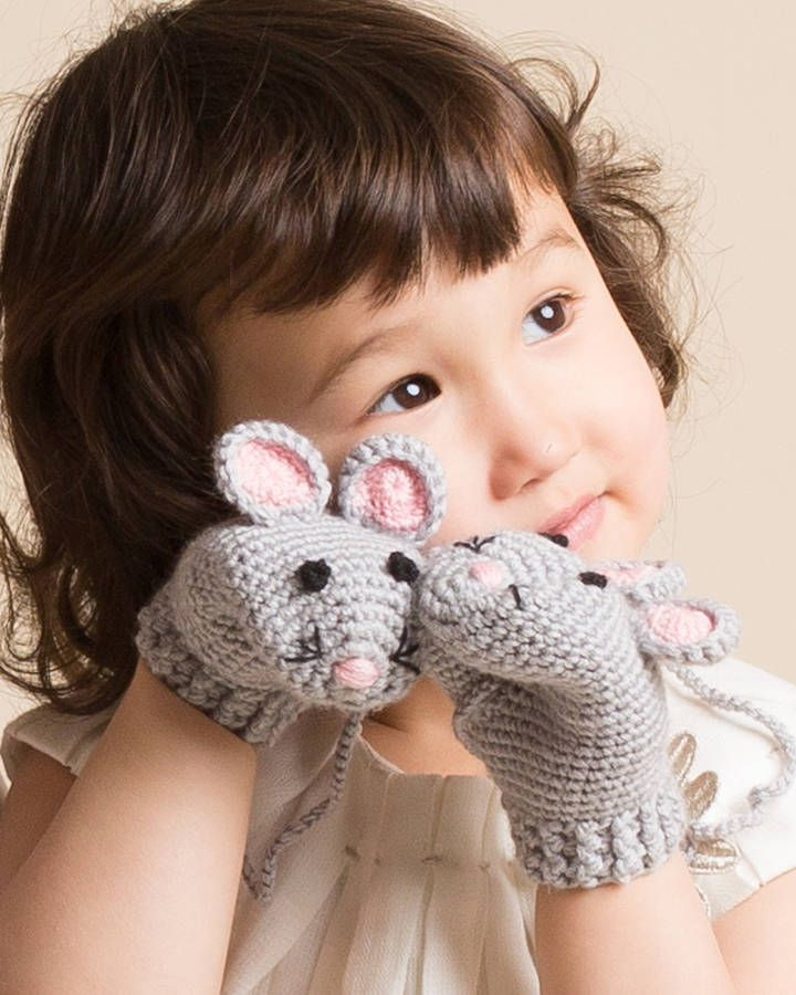 Hand-crochet kids mouse mittens - simple mittens made fun to wear.Inspired by childhood puppet shows, I have designed these mittens for little one to wear and play.