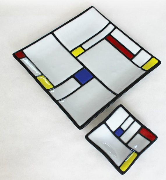GLASS CHIP and DIP 2 Piece Set Mondrian by SunflowerGlassworks