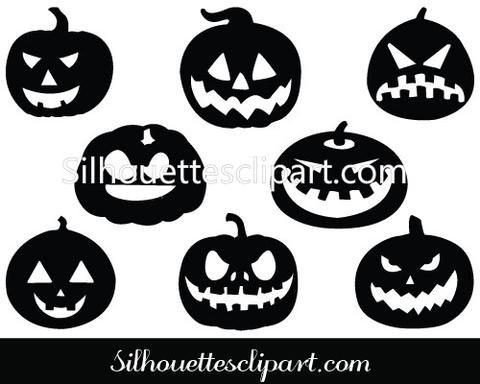Halloween Pumpkin Silhouette Vector Graphics