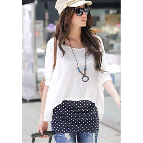Casual Loose Fit Blouse + Polka Dot Print Long Tank Top Twinset, WHITE, ONE SIZE in Blouses | DressLily.com