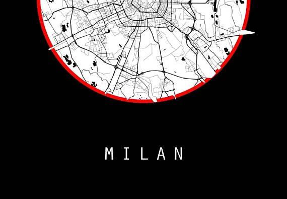 Milan Map Italy Map Europe Map Black And White Map