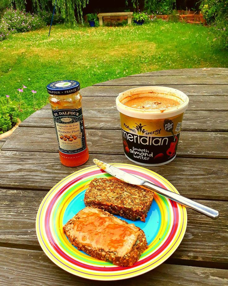 Breakfast this morning: #homemade #glutenfree #grainfree #sugarfree #bread with #stdalfour plum jam and #meridian almond butter ________________________________#foodismedicine #healingfoods #vegan #plantbased #plantpower #fruit #fruitpower #givemethatplant #ukvegans #veganbreakfast #healthyfood #ahealthynut #nutritious #foodblog #fdblogger #vegangirl #healthybreakfast #cleaneating #gloobyfood #vegancommunity #yum #govegan