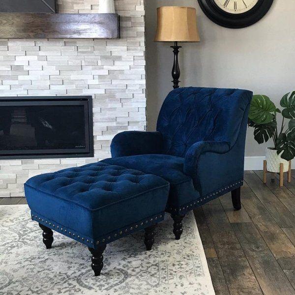 Chas Navy Blue Velvet Armchair Pier 1 in 2019 Blue