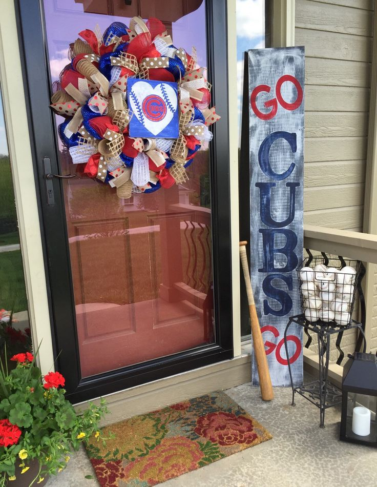 Chicago cubs - cubs, cubs baseball - cubbies - baseball - cubs decor - cubs wreath - summer wreath - Father's Day gift - front porch by adoorablewreathdesig on Etsy https://www.etsy.com/listing/291169305/chicago-cubs-cubs-cubs-baseball-cubbies