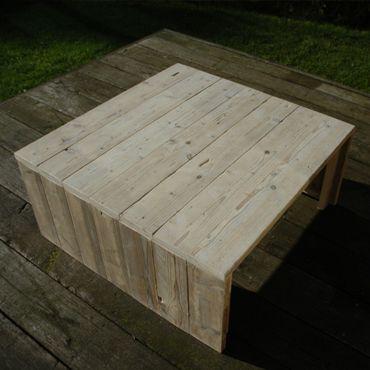 Vierkante salontafel in oud steigerhout RawCreations